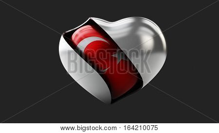 3d Illustration of Turkey flag love heart concept with the Turkish flag in a heart shape, isolated black