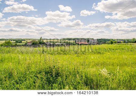 Russian rural village summer landscape, the Urals