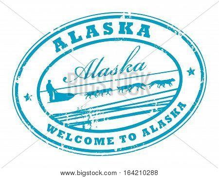 Grunge rubber stamp with Dog Sled and name of Alaska, vector illustration