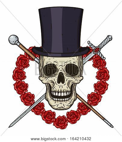 Cartoon Skull in cylinder hat, with a walking stick, a rapier and a heart of red roses