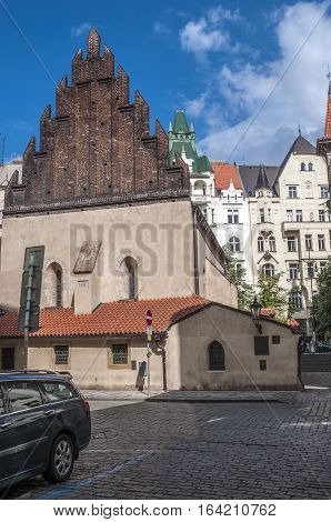 Czech Republic Prague . Old-New Synagogue - the oldest functioning synagogue in Europe is located in Prague in the quarter called Josefov .