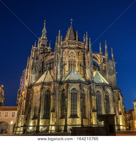 Czech Republic Prague Prague Castle. Night Photography St. Vitus Cathedral the most revered saint in the Czech Republic.