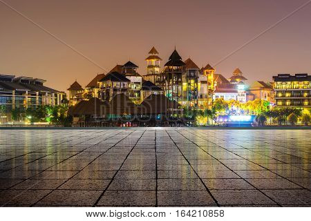 dawn at Putrajaya with modern building with empty floor