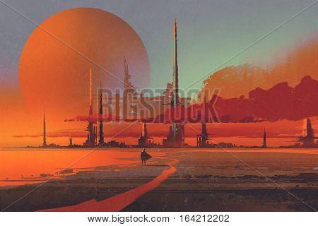 sci-fi construction in the desert, illustration digital painting