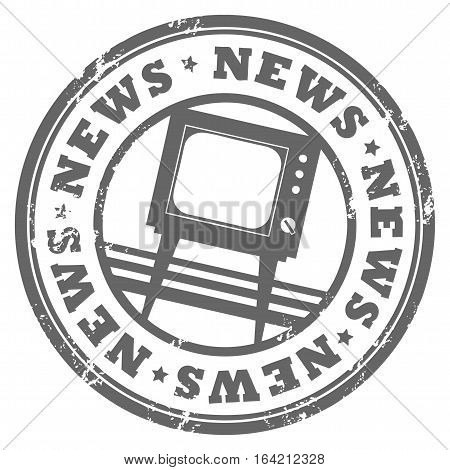 Grunge rubber stamp with TV and the word News written inside the stamp, vector illustration