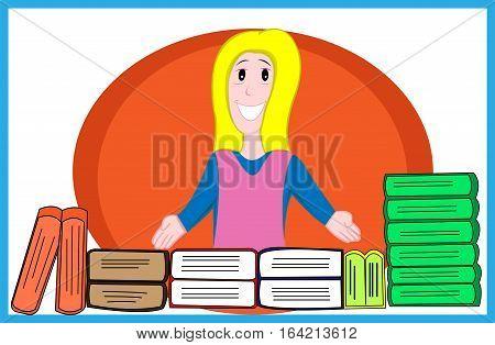 Beautiful Young Girl Selling Books Cartoon Illustration