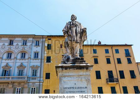 Statue Of Giuseppe Garibaldi In Lucca, Italy