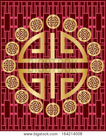 Chinese New Year with patterns on red background