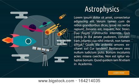 Astrophysics Conceptual Banner | Great flat illustration concept icon and use for science, research, technology, physics, chemistry and much more.