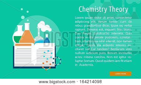 Chemistry Theory Conceptual Banner | Great flat illustration concept icon and use for science, research, technology, physics, chemistry and much more.