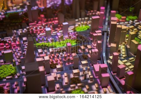 Architecture urban model  with light colourful ,detail