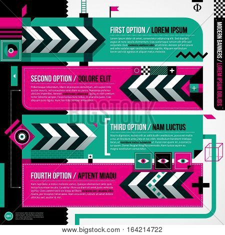 Four Banners In Weird Geometric Style With Abstract Shapes And Flashy Colors. Eps10 Vector Template