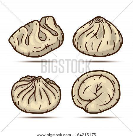 Set of dumplings. Dim sum set. Vector illustration