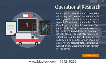 Operational Research Conceptual Banner | Great flat illustration concept icon and use for science, research, technology, physics, chemistry and much more.