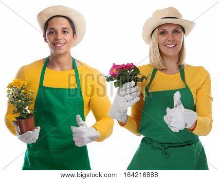 Gardener Team Gardner Flower Gardening Garden Occupation Thumbs Up Isolated