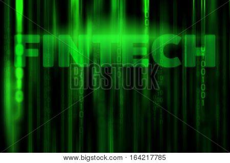 FINTECH in data binary code matrix background