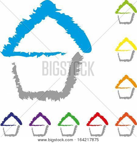 House, colored, house and real estate logo