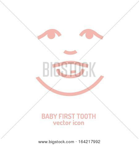 First tooth icon. Vector illustration in pink colour on a white background. Medicine, healthcare and childhood concept.