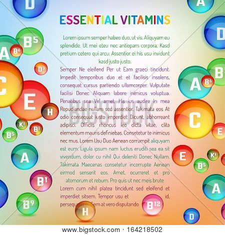 Vitamin complex. Vertical layout with different vitamins. Medical and pharmaceutical image. Vector template with copyspace for leaflet, brochure, poster or advertorial design.