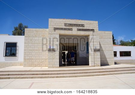 PAPHOS CYPRUS - APRIL 20 2016: entrance to museum Tombs of the kings on April 20 in Paphos Cyprus.Paphos -ancient city included in UNESCO list