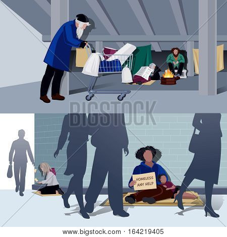 Homeless people flat horizontal compositions of hungry begging alms and unemployed living in city tents vector illustration