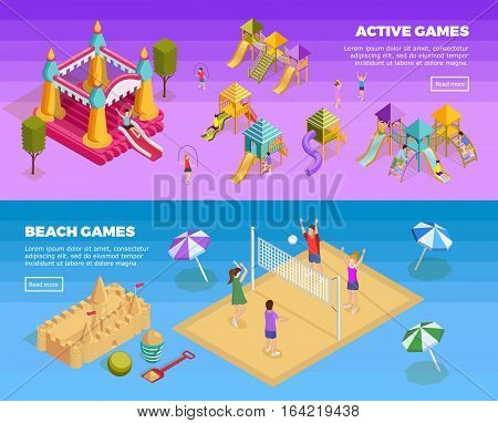 Two horizontal playground banner set with active games and beach games descriptions vector illustration