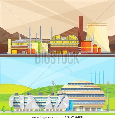 Eco clean industry converting waste to energy and using wind power 2 flat isolated banners vector illustration