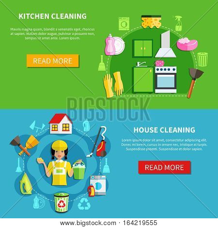 Cleaning horizontal banners set with professional house washing equipment with editable text and read more button vector illustration