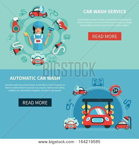 Two horizontal car wash banners set with doodle images of cleaning equipment with read more button vector illustration