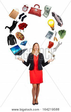 Women interests. Woman commitments, passions and desires. A beautiful woman has in her hands the objects of her desires and dreams. The female can handle everything with complete mastery and ability. White background.