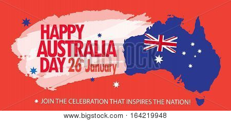 Happy australia day 26 january vector photo bigstock happy australia day 26 january poster map of australia with flag and stars on festive m4hsunfo
