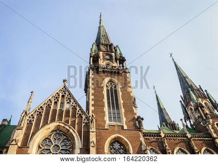 Church of Saints Olga and Elizabeth (the former Catholic church of St. Elisabeth) in Lviv Ukraine. Cathedral in the Gothic Revival style. Erected in 1903-1911.