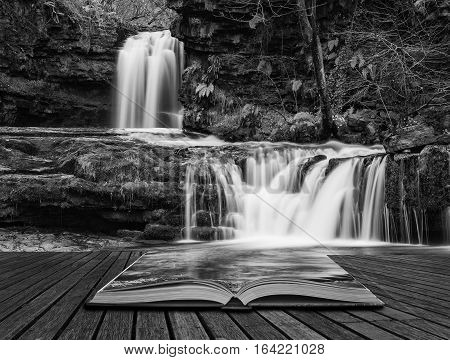 Beautiful Black And White Waterfall Landscape Image In Forest During Autumn Fall In Wales Uk Coming