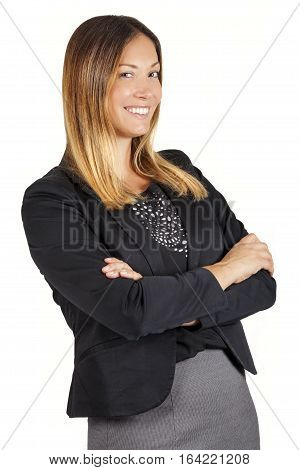 Beautiful smile business or support smiling leader woman on white. Arms crossed. A beautiful and happy young woman smiling. Concept of successful female. Arms crossed. White background