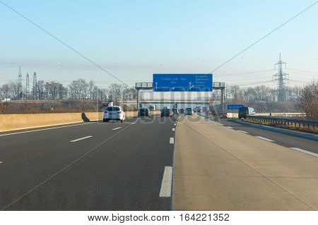Cologne Germany - December 30 2016: Bundesautobahn 4 at Cologne. With 749 km it is the fourth length Bundesautobahn in Germany