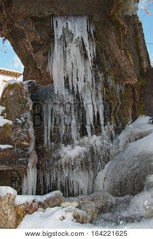 Frozen fountain in the historic center of Nocera Umbria