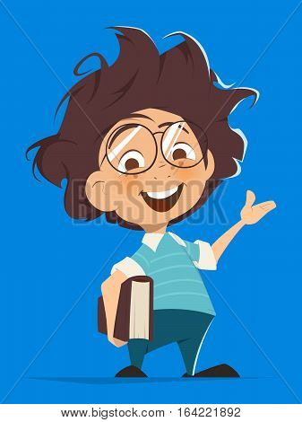 Vector character illustration of School kid with book and glasses pointing hand