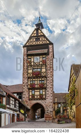 Historical Dolder Tower in Riquewihr Alsace France