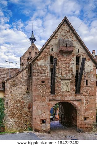 The upper gate and the Dolder tower in Riquewihr Alsace France