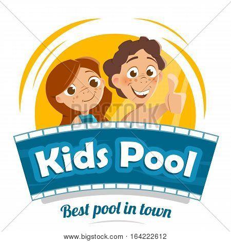 Aqua water park or swimming pool logo design template