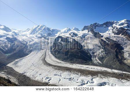 The Gornergrat in Zermatt, Switzerland.  It is a rocky ridge of the Pennine Alps, overlooking the Gorner Glacier south-east of Zermatt in Switzerland. It has a height of 3,135 m (10,285 ft).