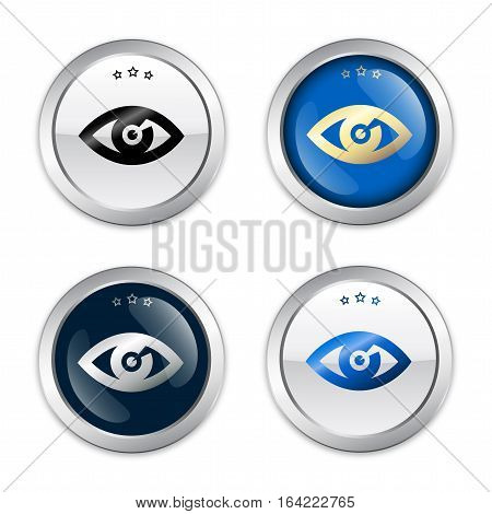 Searching seal or icon with eye symbol. Glossy silver seal or button.