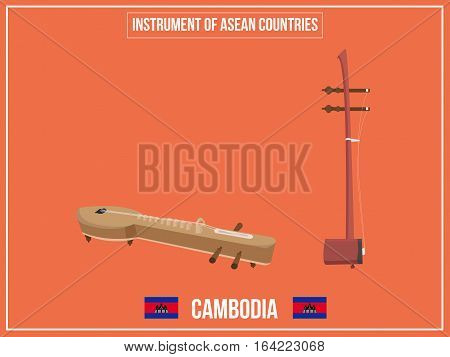 Vectors illustration of Instrument of Cambodia country