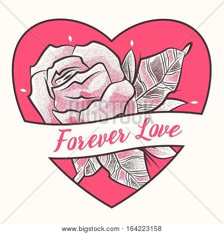 Forever love. Dotted flower with heart and leaves decorative ornate. Cute floral elements in dotwork. Contour style for tattoo design. Vector stock illustration