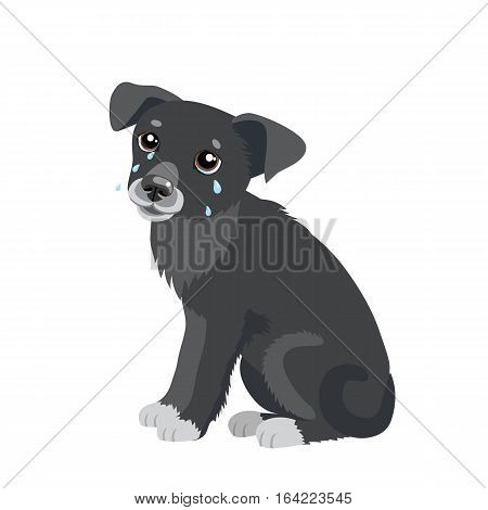 Sad Crying Dog Cartoon Vector Illustration. Dog With Tears. Weep Homeless Pet. Crying Dog Emoji. Crying Dog Face.