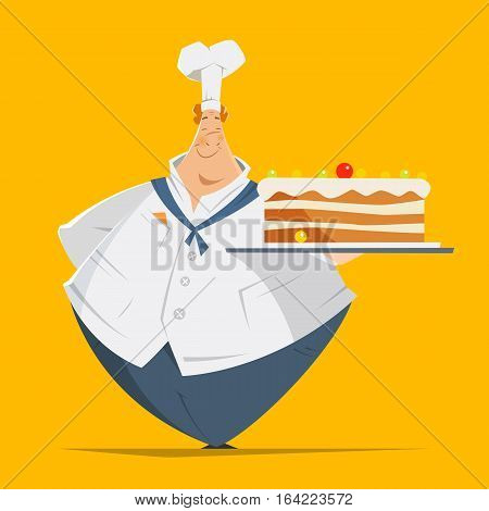Vector character illustration of happy smile fat man confectioner baker holding tray with big cake