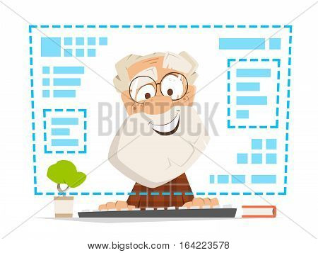 Happy smile old man sitting in front of the computer monitor Online education
