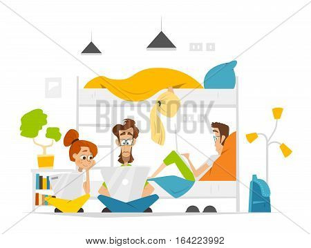 Color vector flat illustration of students hostel or dormitory with young people team working on laptops
