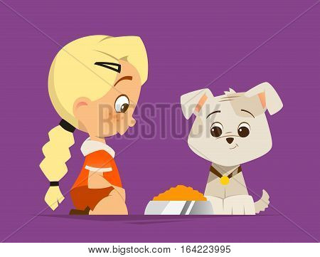 Vector color illustration of Cute little girl feed a puppy dog