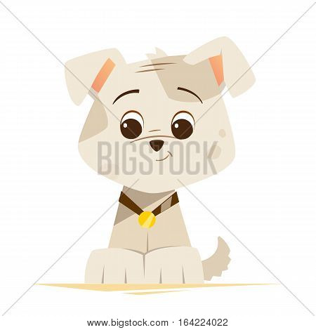 Color vector illustration of cute little funny dog puppy